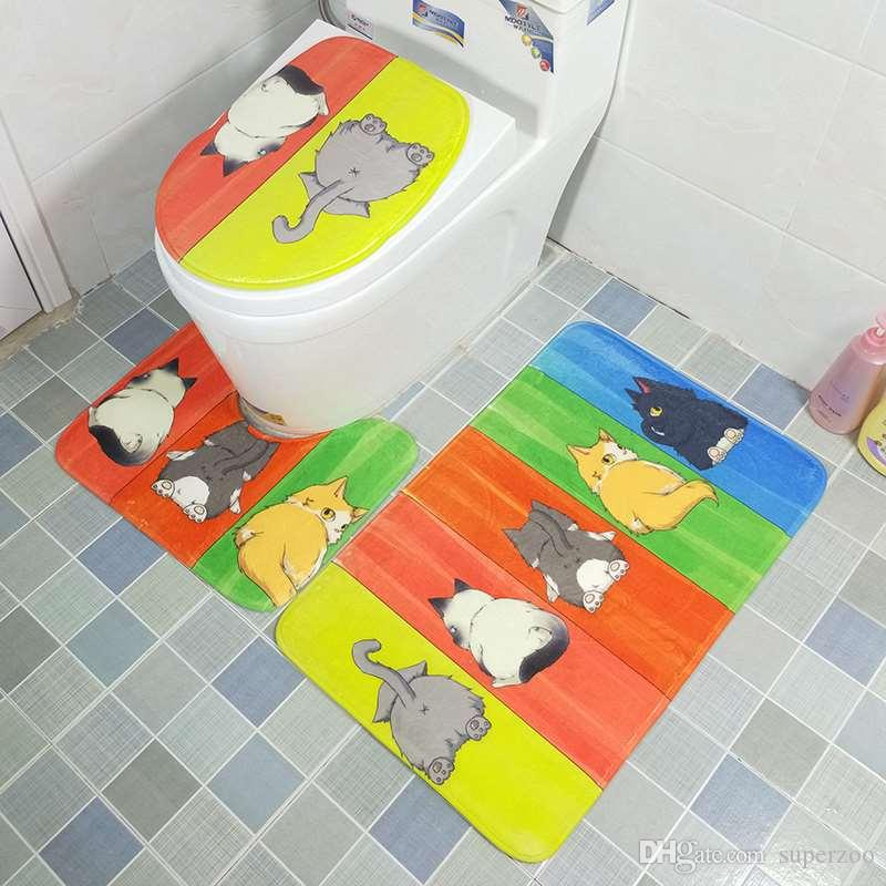 2018 Cartoon Toilet Seat Cover Set Absorbent Non Slip Bathroom Rug
