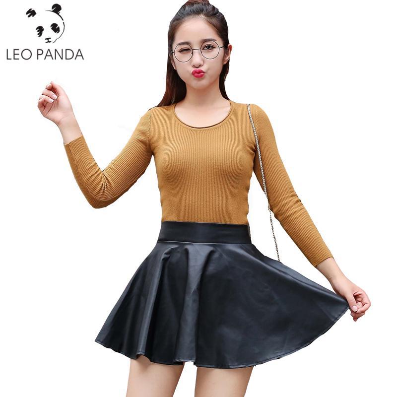 7b4814ffbb Compre Al Por Mayor Venta Caliente XS L Fashion Women Falda De Cuero Falda  De Cintura Alta Mini Falda Por Encima De La Rodilla De Color Sólido  Acampanada ...