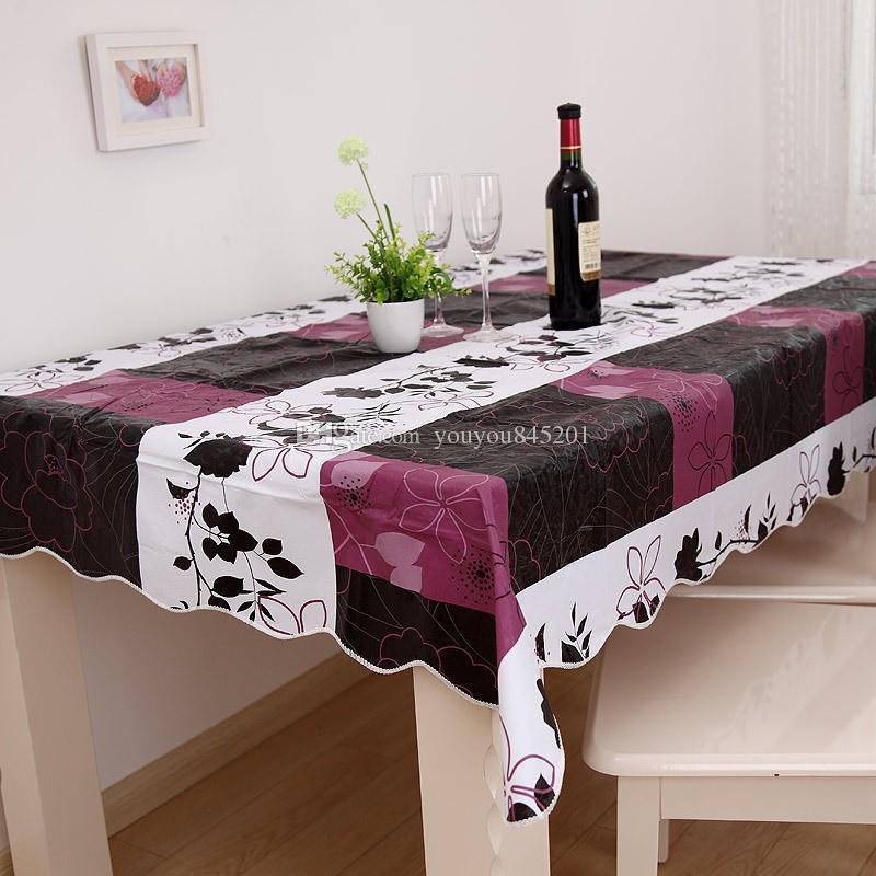 Yüksek Kalite Mor 137 * 183 cm PVC Masa Örtüsü Plastik Su Geçirmez Yağ Yemek Masa Örtüsü Kahve Baskılı Masa Örtüsü Yerleşimi