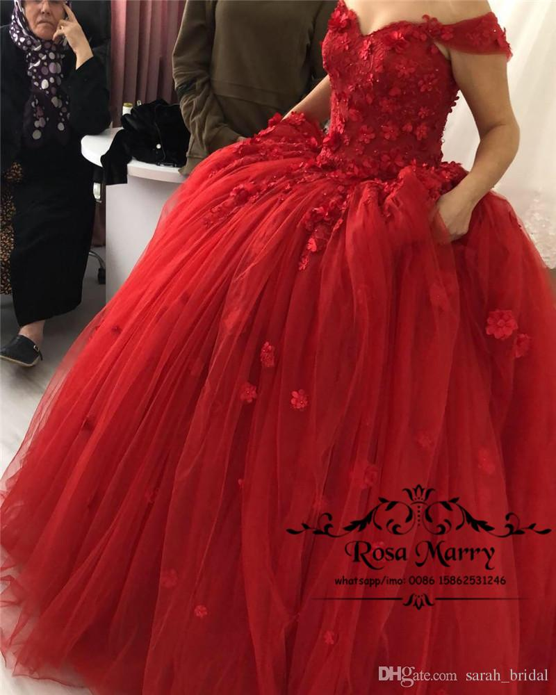 2b0ff84716892 Red Sweet 16 Masquerade Quinceanera Dresses 2019 Ball Gown Off Shoulder 3D  Floral Beaded Vestidos 15 Anos Girl Birthday Prom Party Gowns