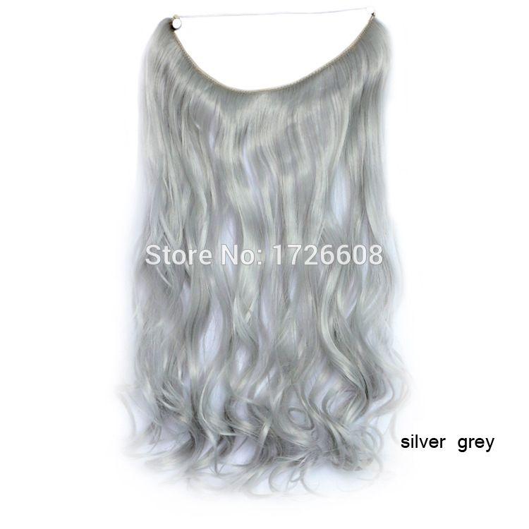 18 Inch Grey Silver Hair No Glue No Clip Hair Extension Brazilian