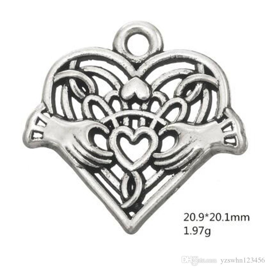 2018 Antique Silver Plated Claddagh Friendship Heart In Hand Pendant