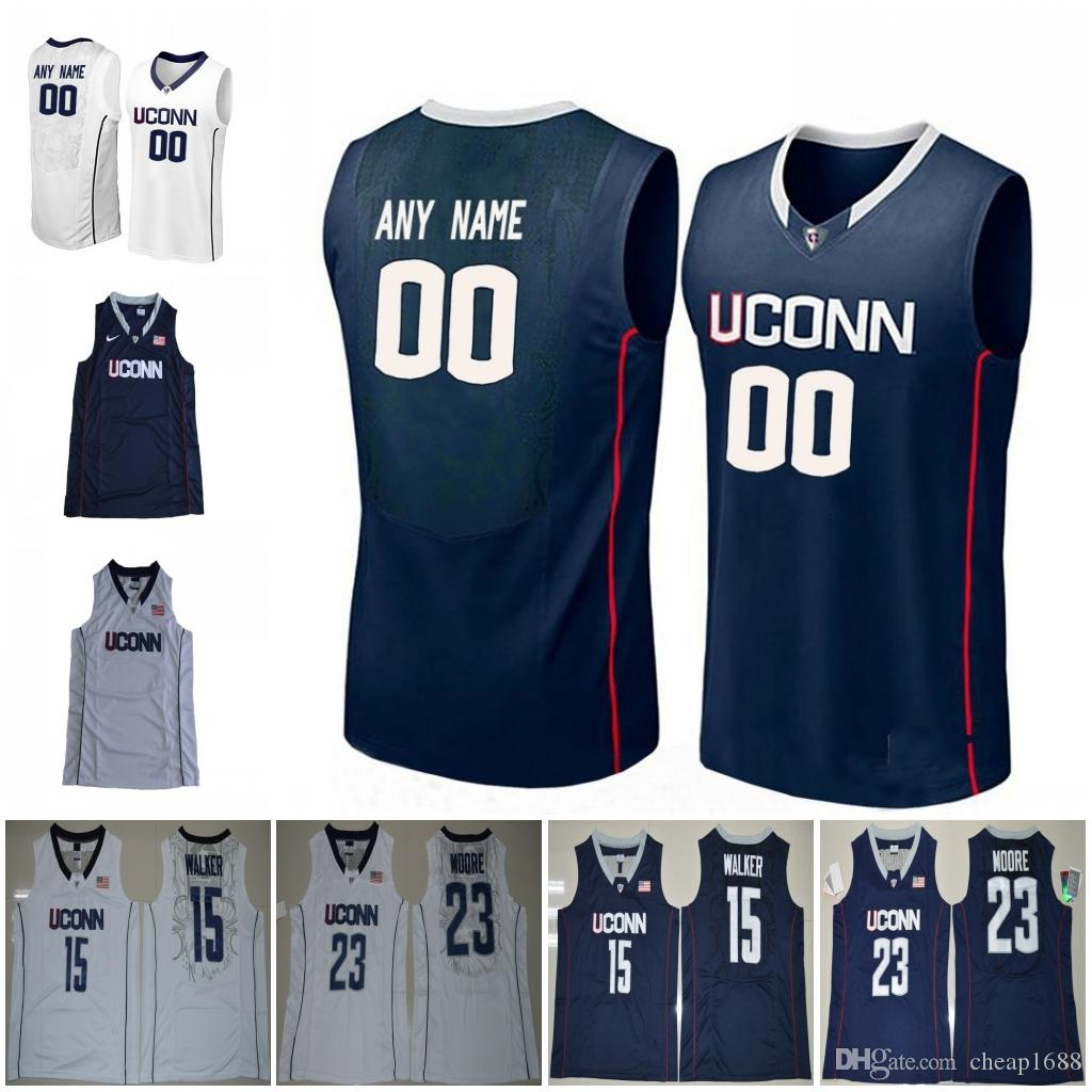 bd915371412 2019 Custom Uconn Huskies NCAA College Basketball 15 Christian Vital 2  Jalen Adams 4 Jalen Adams Stitched Any Name Number White Navy Blue Jersey  From ...