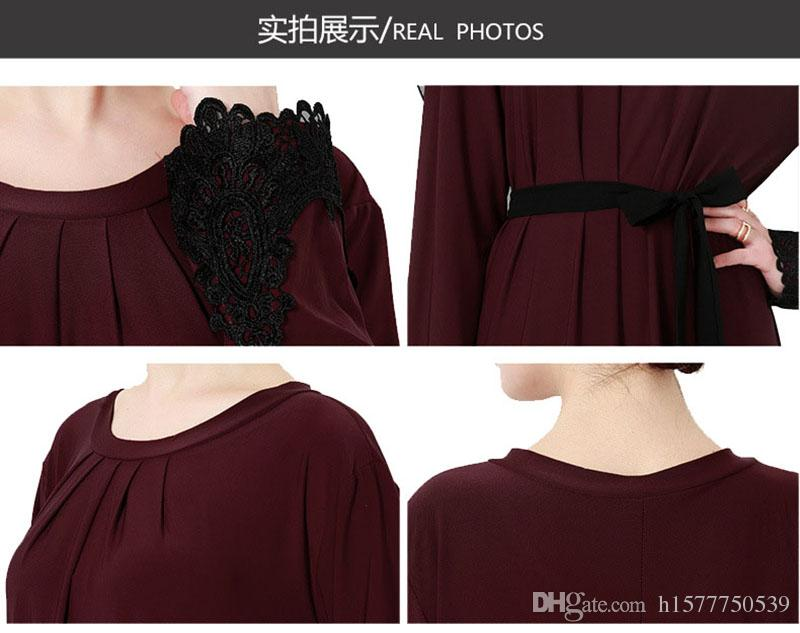 2018 Plus size XXXL Abaya Dubai Women Muslim Dress Islamic Lace Embroidery Clothing Turkish Kaftan Robe Musulmane Dresses With A Belt