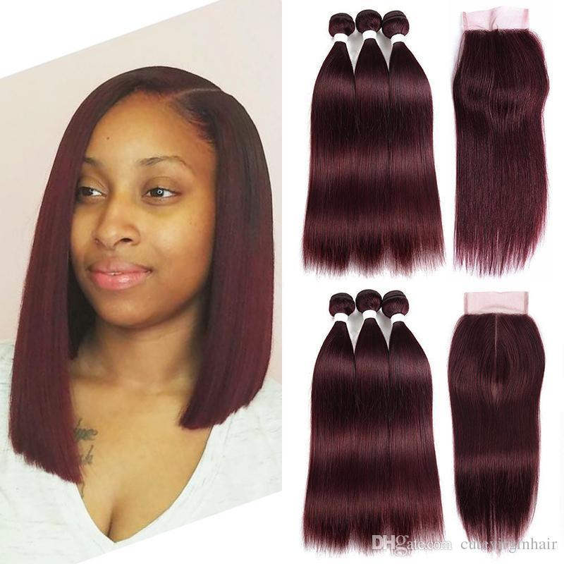2018 99j Human Hair Weaves Dark Red Hair Extensions Pre Colored