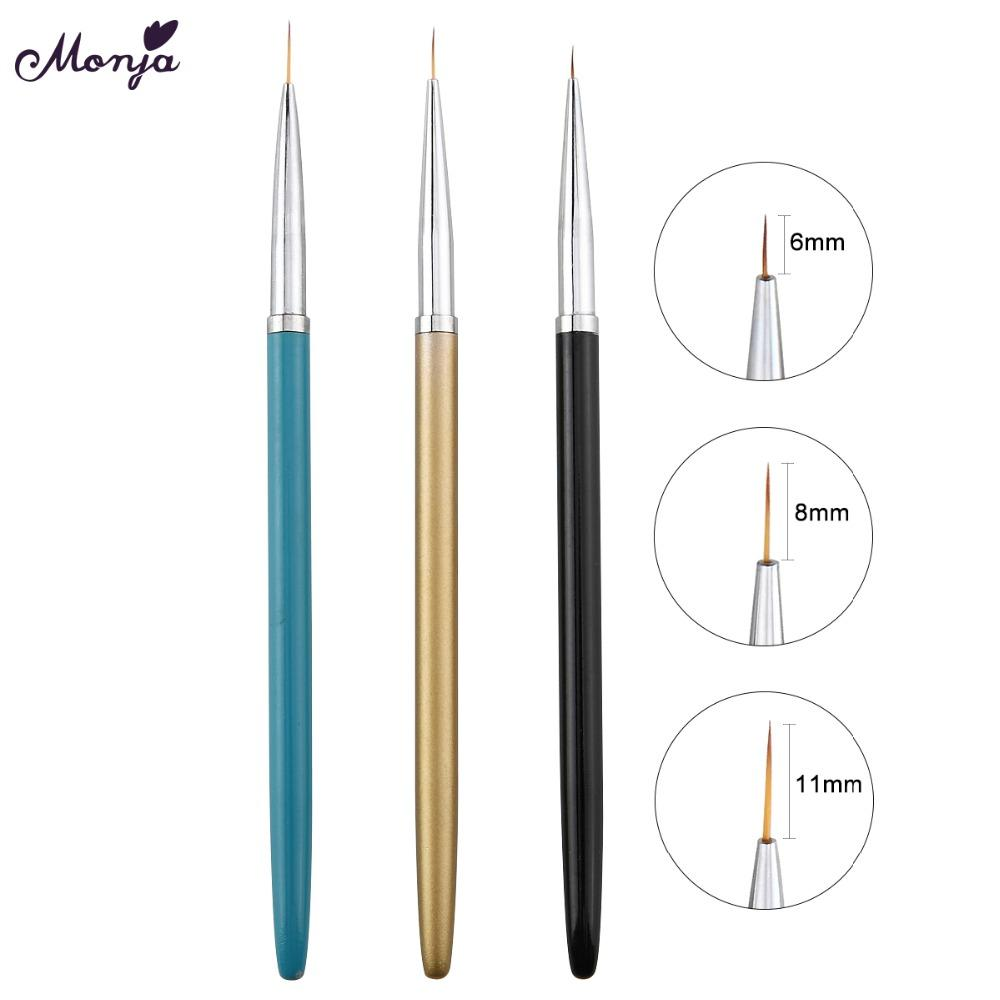 Draw drawings monja 6 8 11mm nail art metal french stripes lines flower painting drawing liner brush pen manicure tools kit art brushes nail care products