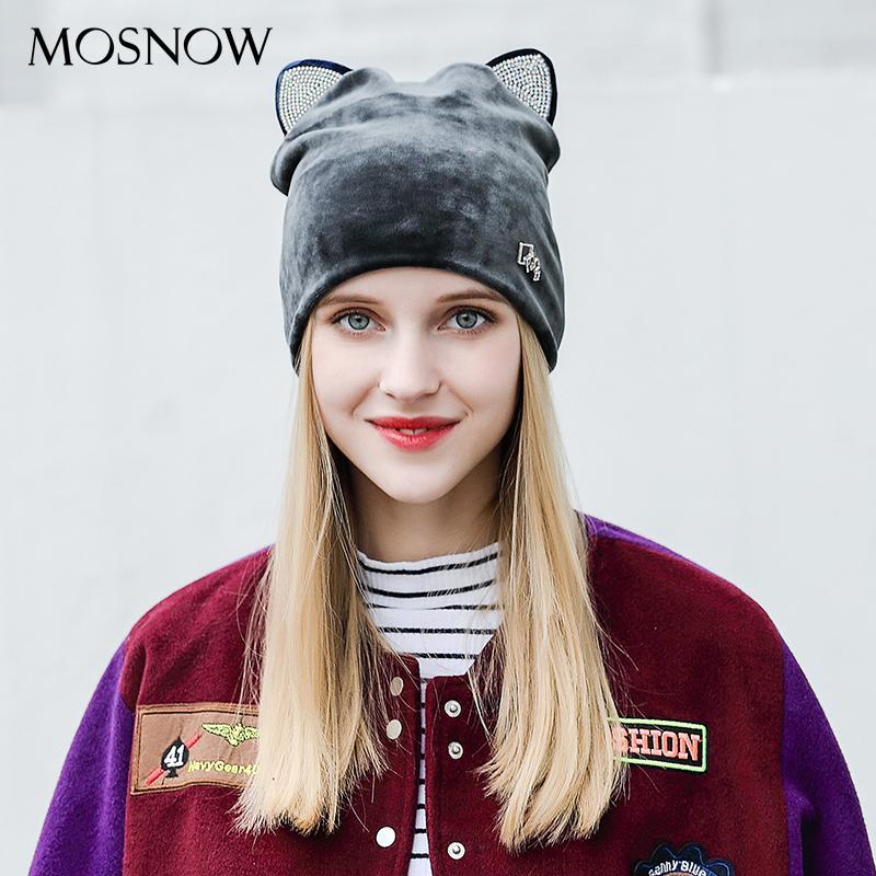 MOSNOW Rhinestone Cute Cat Ear Fashion Brand New Flannel 2017 High Quality  Warm Cap Winter Skullies Bonnet Femme  MZ819 Cheap Hats Women Hats From  Htiancai c26f5cc41087