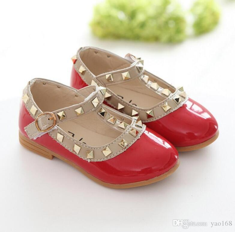 7f2308710963 Years Kids Baby Fashion Rivet Wedding Party Leather Dress Shoes 2018 New  Fashion Girls School Princesses Leather Shoes 25 Red Patent Leather Toddler  Shoes ...