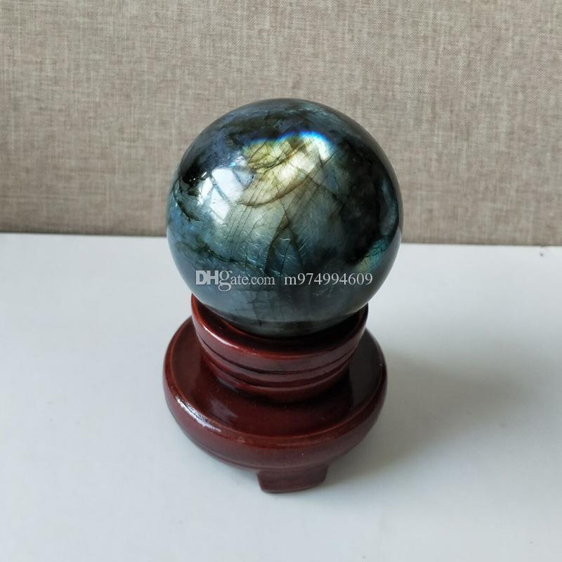 1 Stk. Natürlicher schwerer Flash Labradorit Kristall Reiki Edelstein Labradorit Kristall Kugel als Geschenk + Ständer