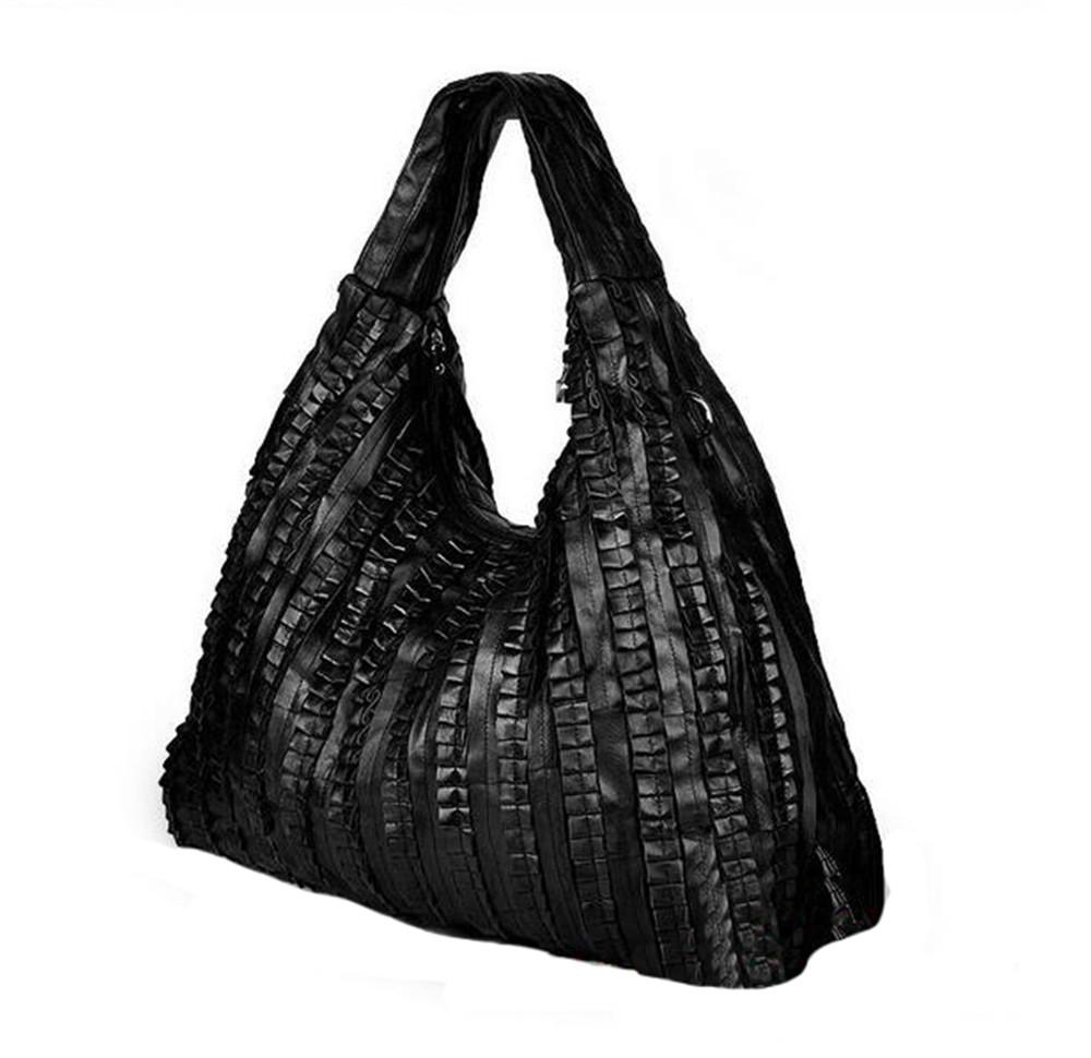 European And American Sheepskin Splicing Female Bag Genuine Leather Casual Women  Messenger Bags Fold Leather Shoulder Bag Female Bag Leather Shoulder Bag ... 31fca32891675