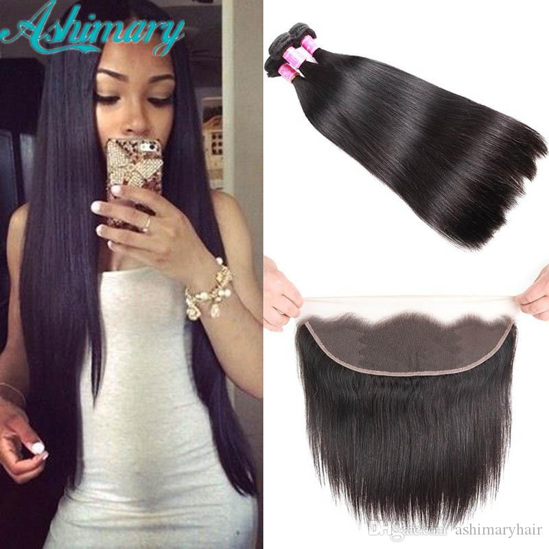 Cheap Brazilian Hair Human Hair Bundles With Frontal Closure Unprocessed 13x4 Lace Frontal Free Part Straight Remy Human Hair 3 Bundles