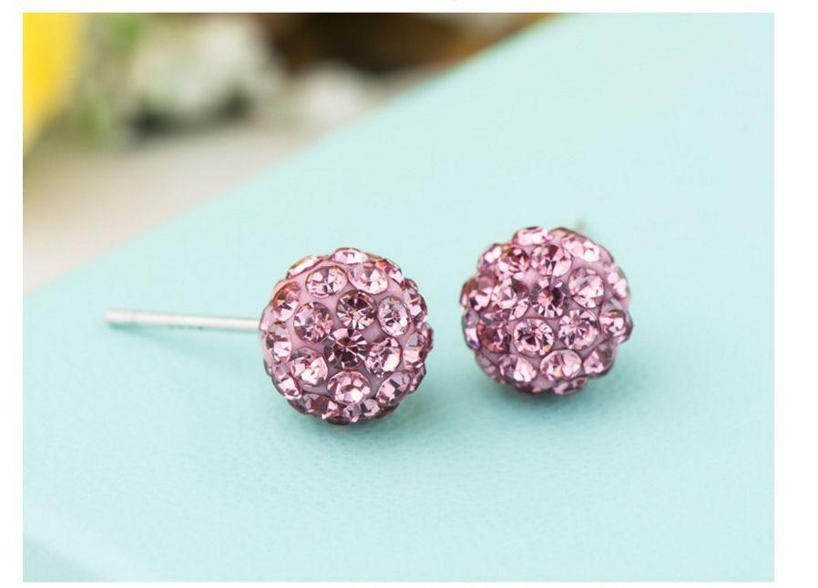 6mm 8mm Elegant 925 silver jewelry Earrings,Shambhala ball Fashion design crystal stud zircon Earrings for Women Wedding jewelry