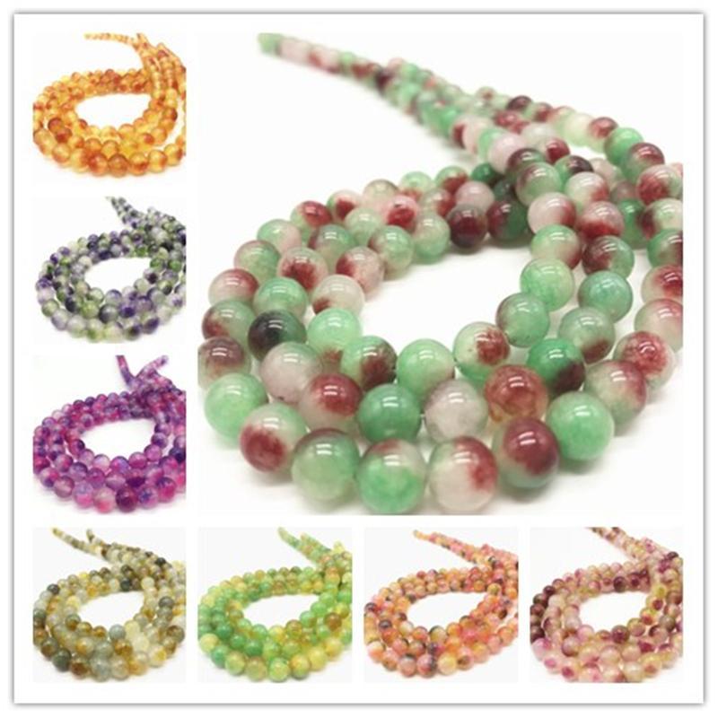 Fashion 8mm Jade Round Gemstone Loose Beads Strand fit DIY Craft Jewelry Making