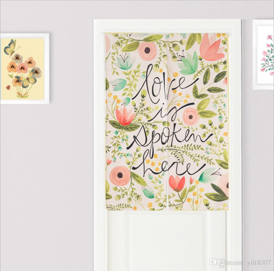 Wholesale 85*120cm Garden Lucky Lotus Door Curtain Cotton Linen Pantry Curtain New Year Festival Wedding Children Kids Room Decor