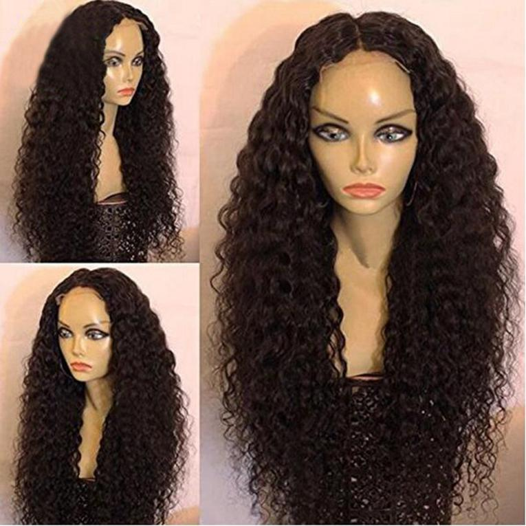 Virgin Human Hair Afro Kinky Curly Human Hair Middle Part Glueless Front Lace Wigs Full lace wigs For African Americans 150% density.