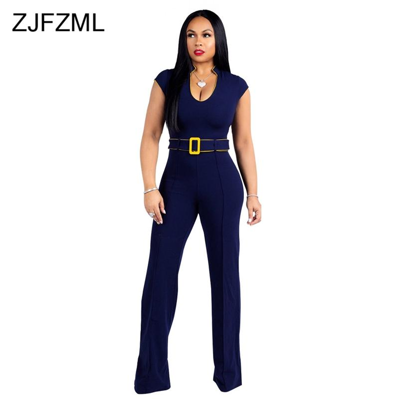 397c479a691 Short Sleeve Sexy Rompers Womens Jumpsuit 2018 Navy V Neck One Piece Wide  Leg Overalls Elegant Female Plus Size Party Bodysuit Jumpsuits Cheap  Jumpsuits ...