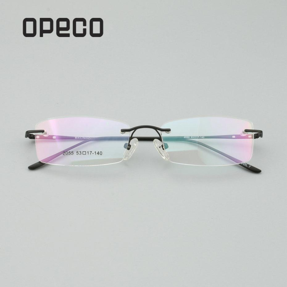 a11ee9bbeb Opeco big sale qualitly men s metal Eyeglasses Frame can do RX Prescription  Glasses Rimless Optical Eyewear optical frame  2055
