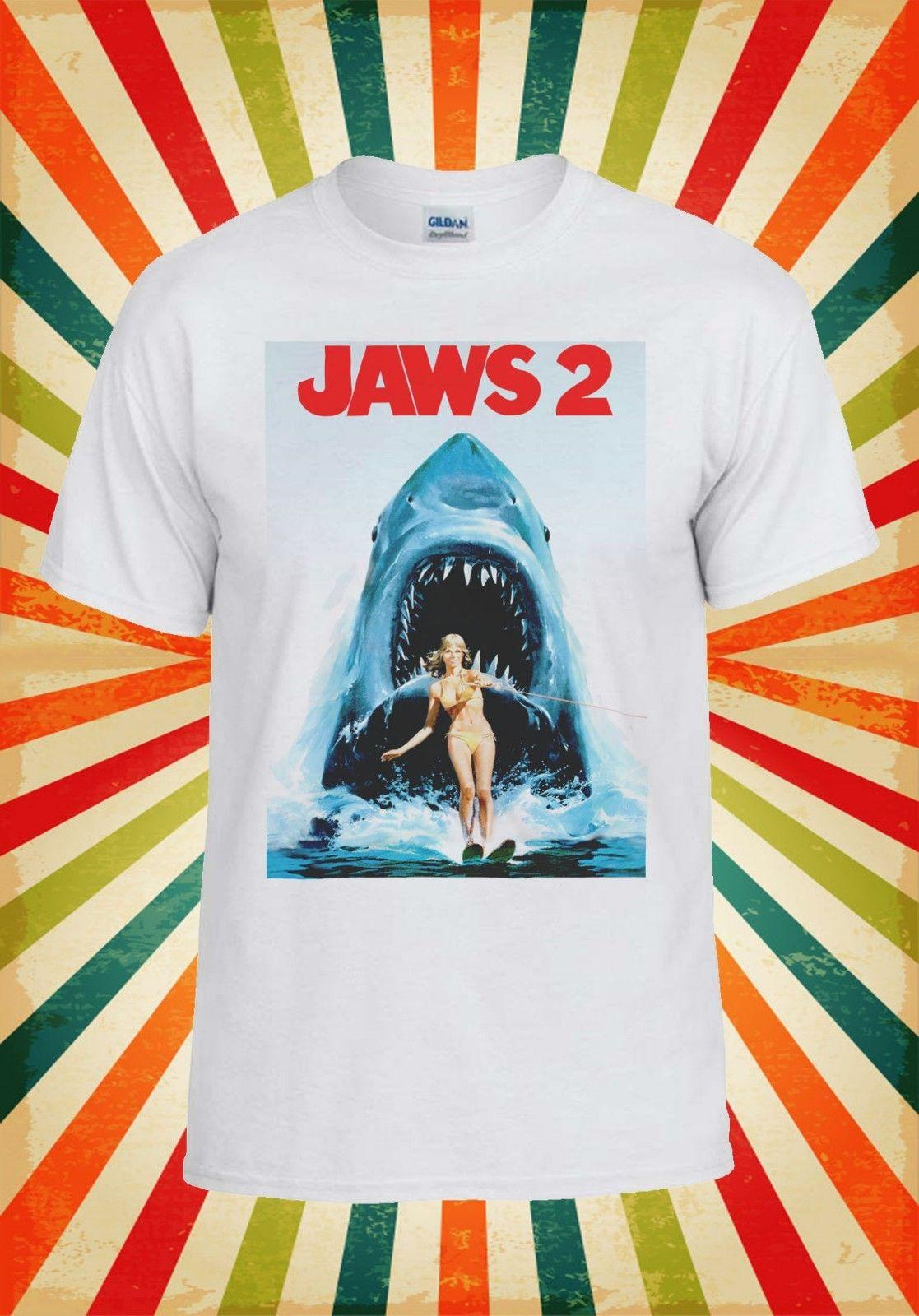 f5324388afbfc6 Jaws 2 Steven Spielberg Shark Attack Men Women Vest Tank Top Unisex T Shirt  2113 Create T Shirts Skull T Shirts From Crazytshirts30