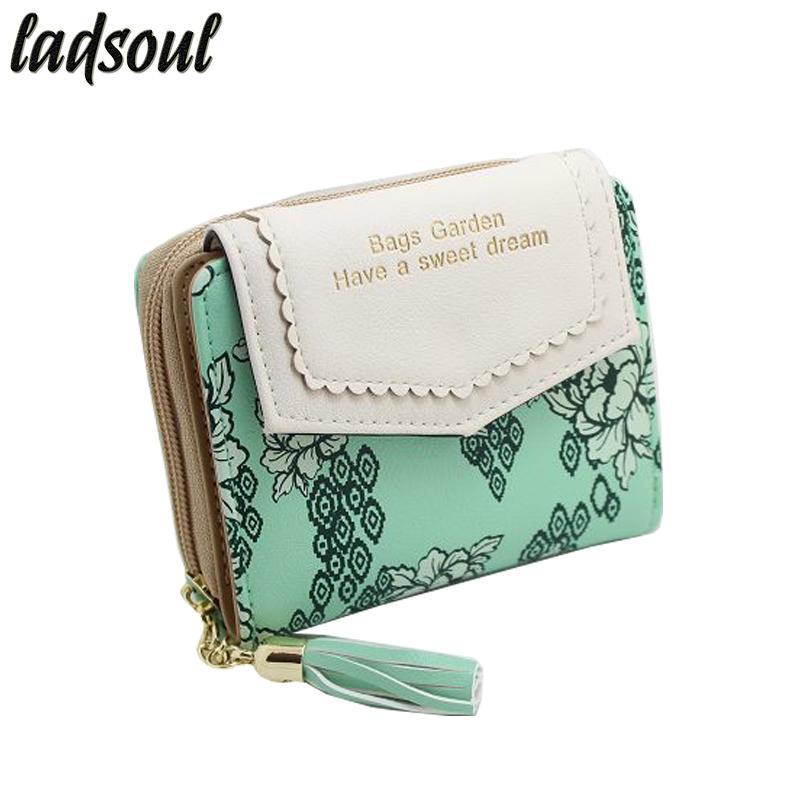 Ladsoul New Excellent Quality Portafoglio donna Vintage Bifold Portafoglio femminile Porta carte di credito Bifold Portafoglio femminile Portamonete ls8736 / g