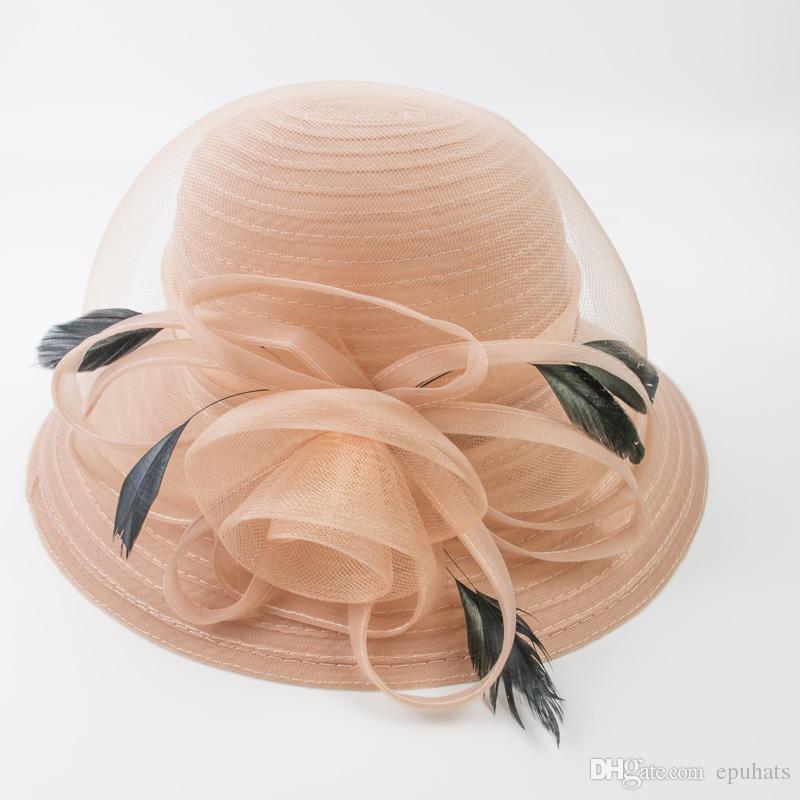 20e14b0d3d3a5 Compre Vestido Formal Para Mujer Sombreros Kentucky Derby Womans Party Elegante  Sombrero Decoración De Plumas Y Flores Fancy Female Bucket Church Hat EPU  ...