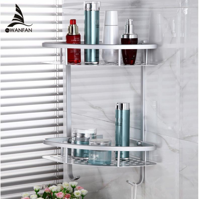 2018 Bathroom Shelves 2 Tier Metal Wall Mounted Shower Corner Shelf ...