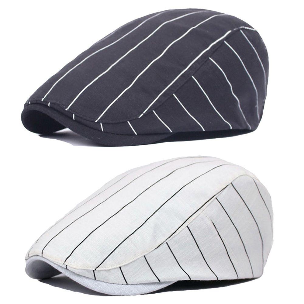 8cf770ddd9ac0 Men Women Classic Striped Driving Golf Hat Adjustable Casual Newsboy ...