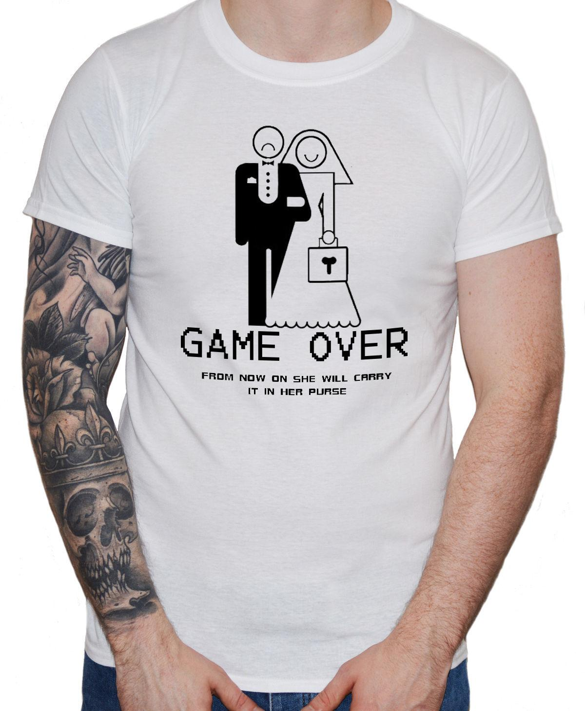 Funny Wedding T Shirt Game Over Guys Mens Groom Stag Party Marriage