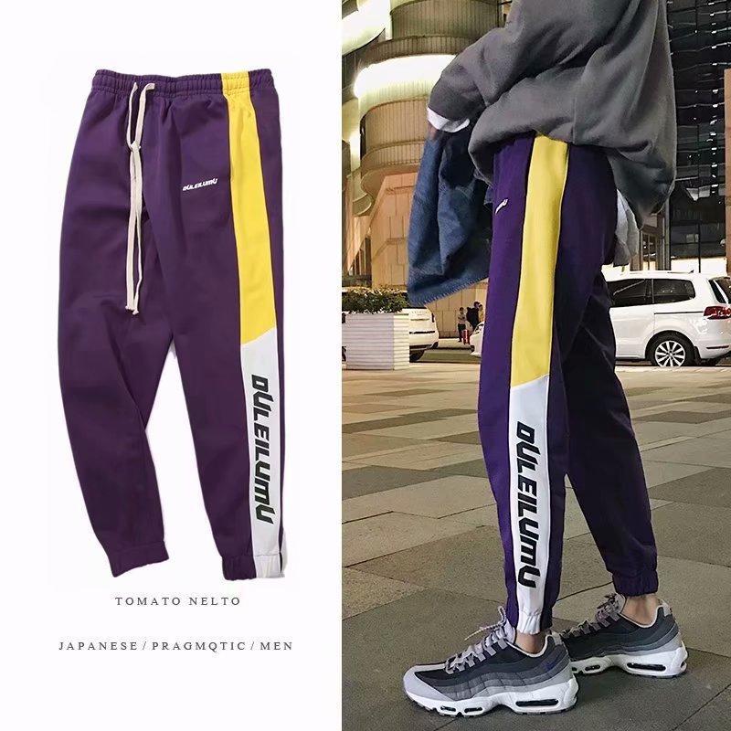 c9b2cba696 Nuovi uomini di modo pantaloni leggings lettera stampa a strisce laterali  jogger track pantaloni pantaloni legging elastico in vita casual jogger ...