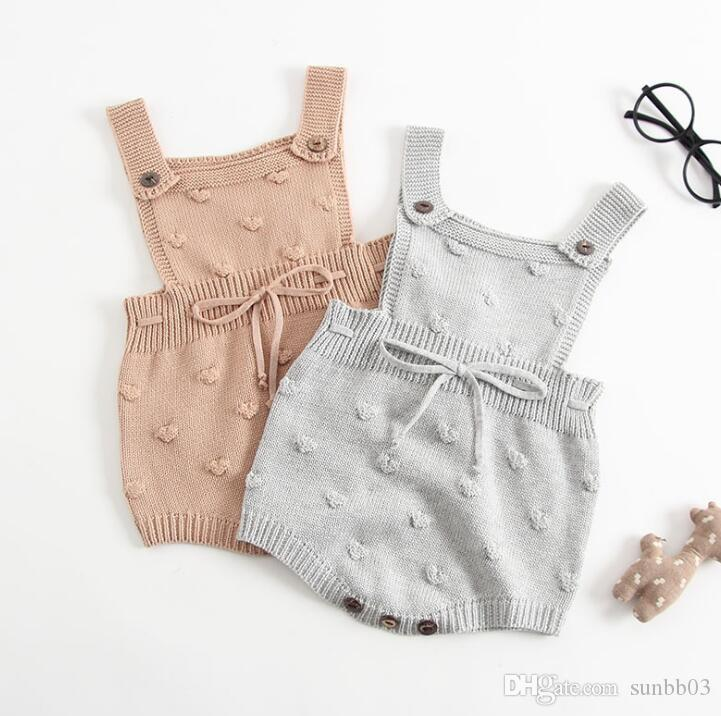 5db61b1d5a1e1 Ins Infant Baby Knitted Rompers Sweater Suspender Pants Triangle Children  Knitwear Overalls Jumpsuits Babies Climb Clothes 13413