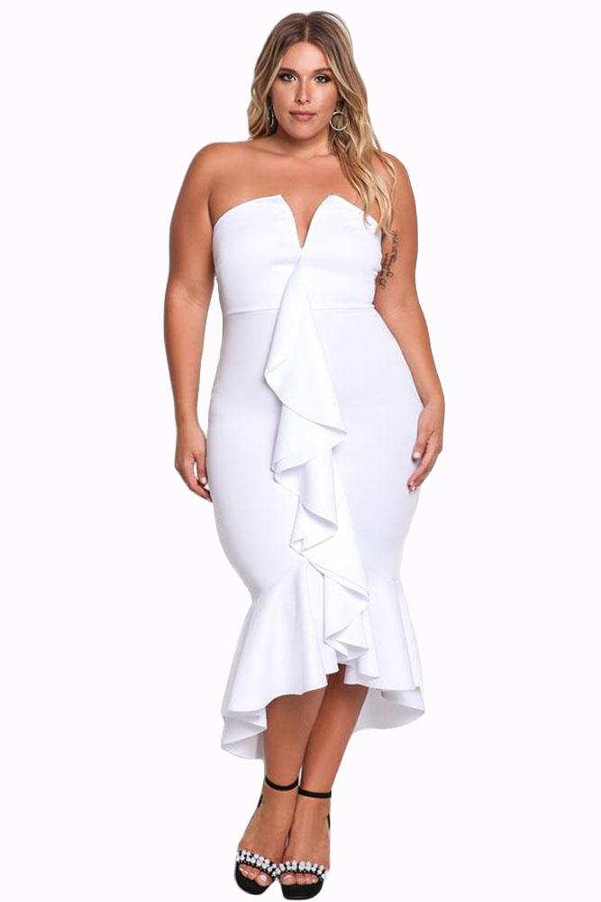 582deebf6fa Black Plus Size Strapless Fashion Autumn Elegant Party Dresses Women Sexy  Sleeves Ruffle Bodycon Dress Cotton Dresses Sexy Cocktail Dresses From  Xuxiaoniu2, ...