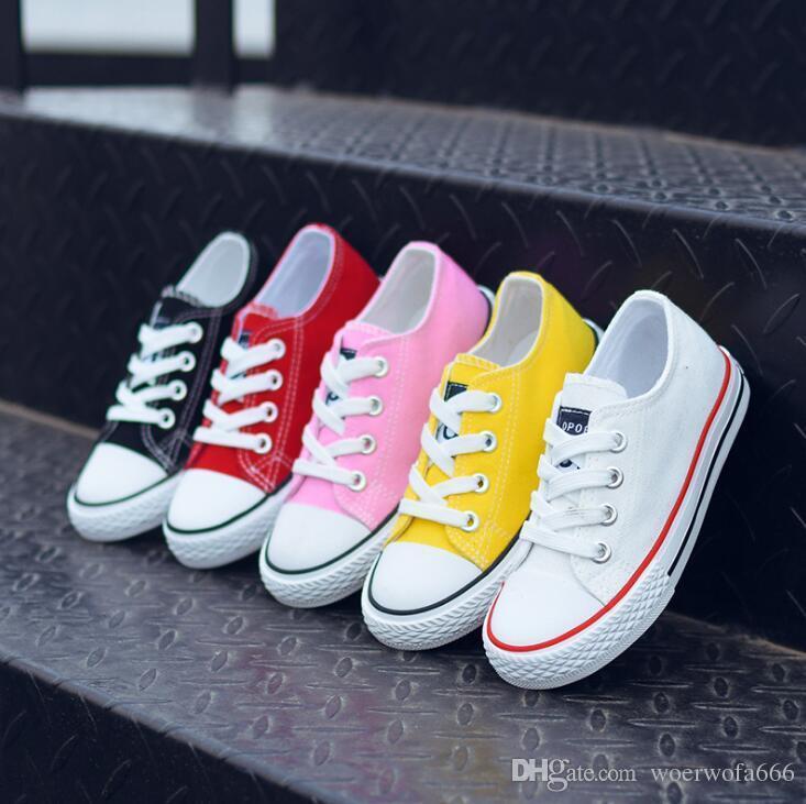 585dbc9219dda Acheter Chaussures Enfants 2018 Automne Version Coréenne Chao Tong Chaussures  Basses En Toile Pour Enfants Petites Chaussures Blanches 5057 De  13.93 Du  ...
