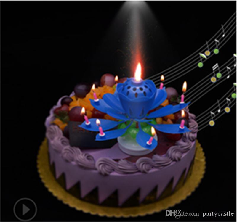 Lotus Music Candle Birthday Flowers Double Rotating Cake Candles Fashionable Accessories Party Supplies Gift