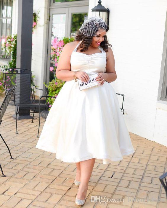 Retro Tea Length Plus size Wedding Dresses Cheap Halter A line Ruched Satin  Simple Designer Wedding Bridal Gowns Short Cheap
