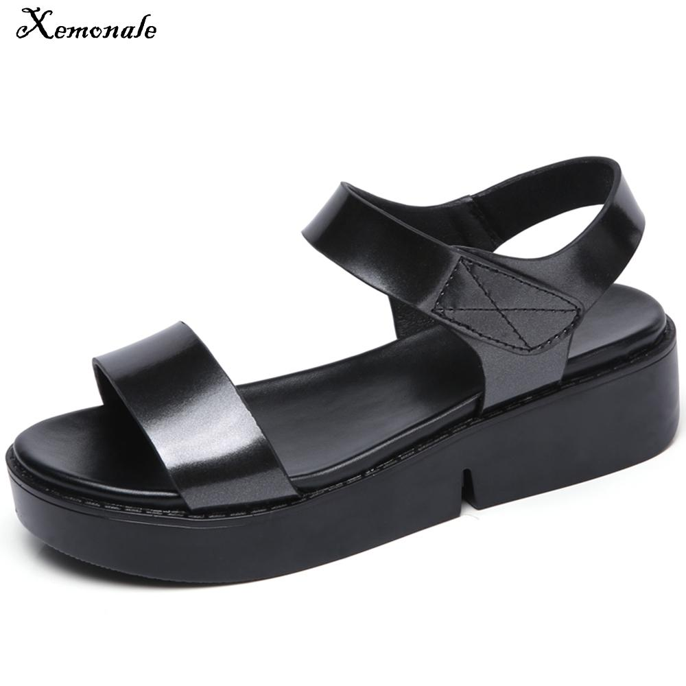 d71aec5e0 Xemonale Summer Metallic Leather Flats Sandals Women Shoes Silver Ankle  Strap Bling Black Gold Platform Sandals Female Footwear Flat Shoes Wedge  Shoes From ...