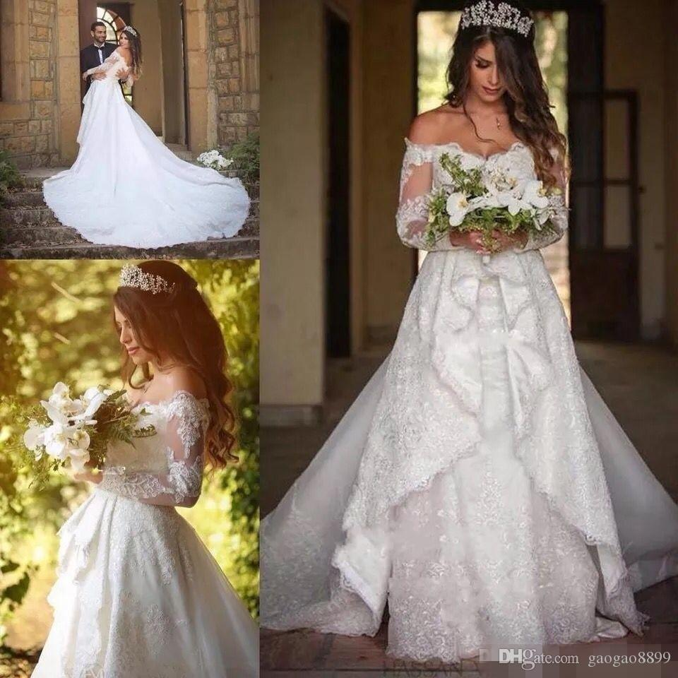 2019 Plus Size Full Lace Wedding Dresses with Detachable Train Off the shoulders Long Sleeve Button Back Wedding Gowns Robe De Mariage