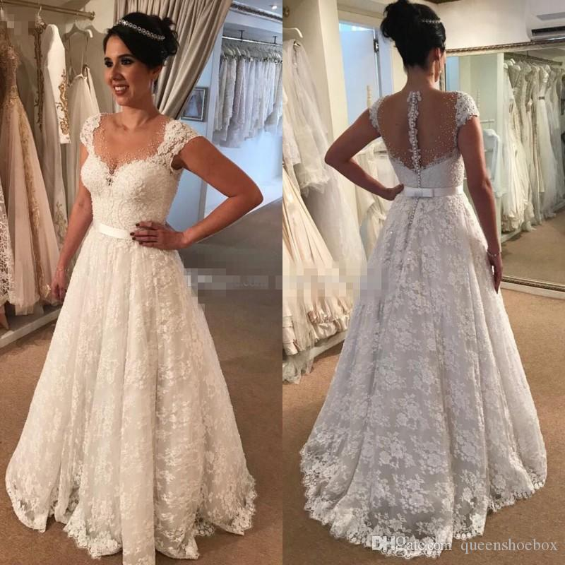 2018 Country Lace Wedding Dress A Line Sheer Neck Sweep Train Illusion Bodice Appliques Beaded Beach Bridal Gowns For Arabic Women Cheap