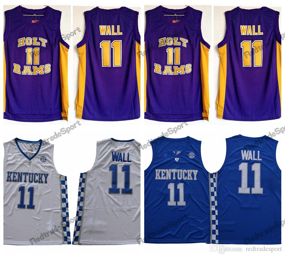 sports shoes dd02b 45f5e Mens Vintage John Wall #11 Holy Rams High School Basketball Jerseys Cheap  John Wall Kentucky Wildcats College Stitched Shirts