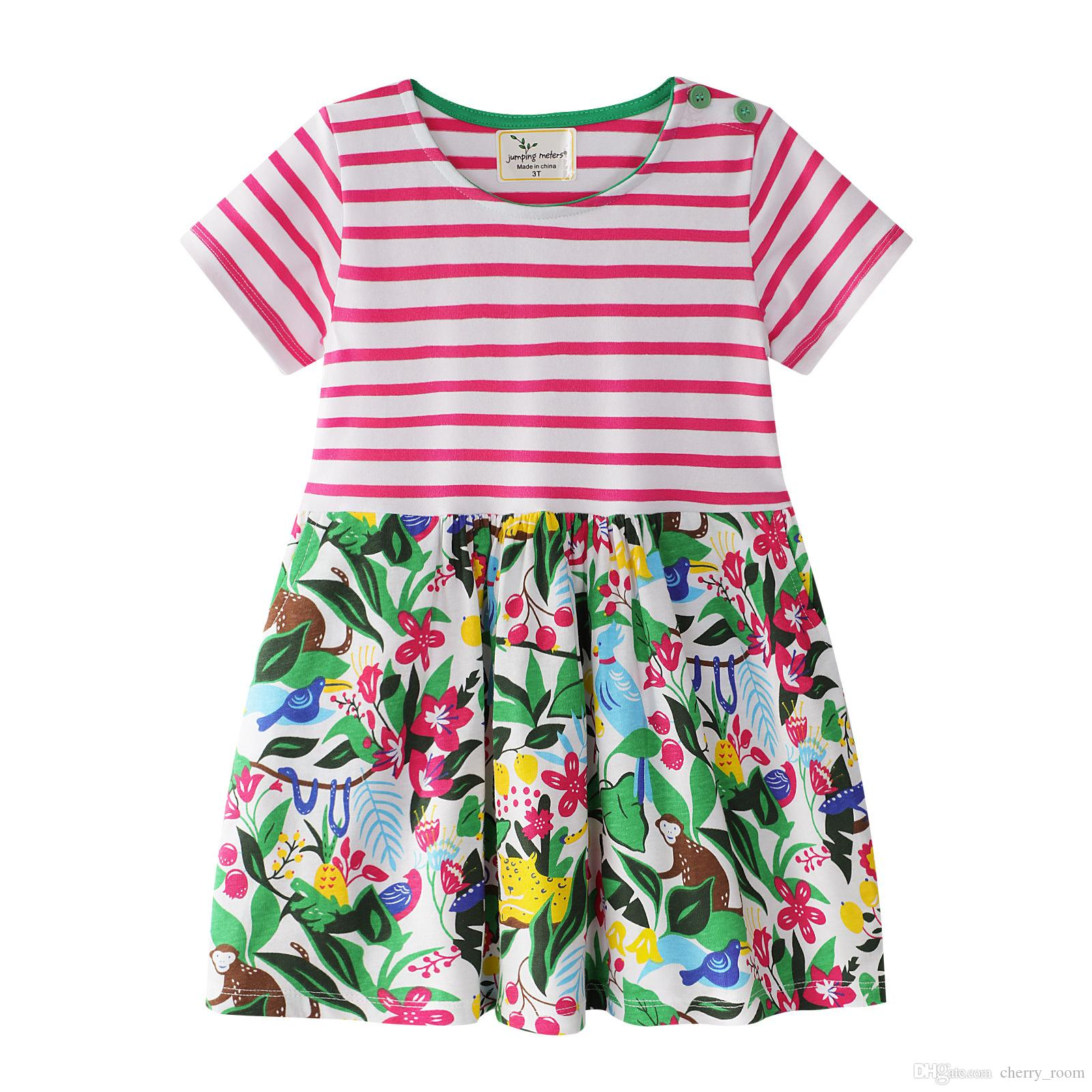 bbd3585cdd2 Princess Dress Animals Printed Girl Jersey Dresses 2018 Children Summer  Clothing For Girls Outwear Short Sleeve Stripe Cotton Dress A8629 Canada  2019 From ...