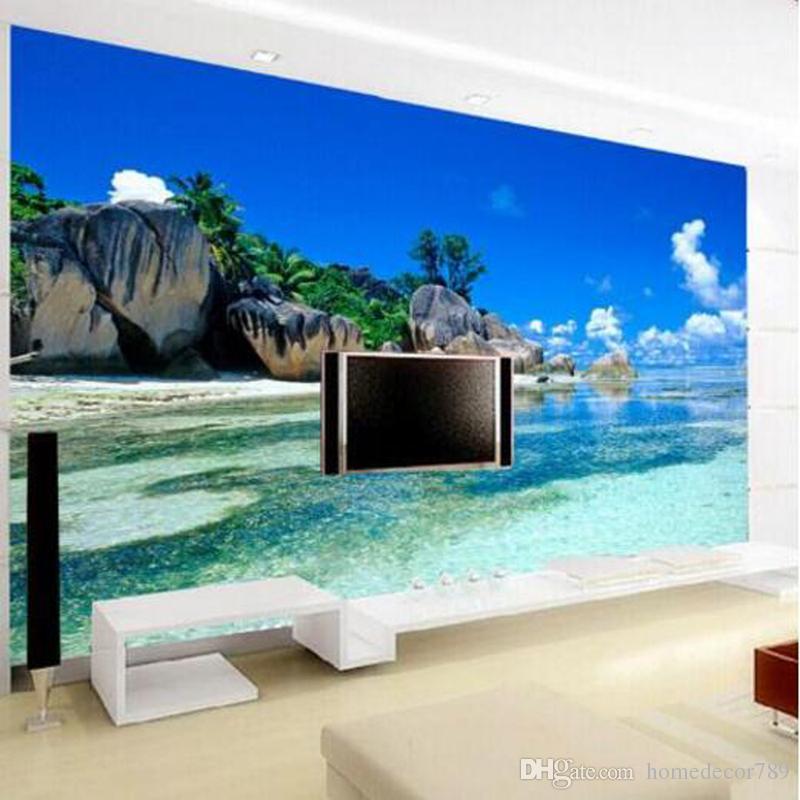 Custom 3D Mural Wallpaper Canvas Bedroom Livig Room TV Sofa Backdrop Wall paper Ocean Sea Beach 3D Photo Wallpaper Home Decor