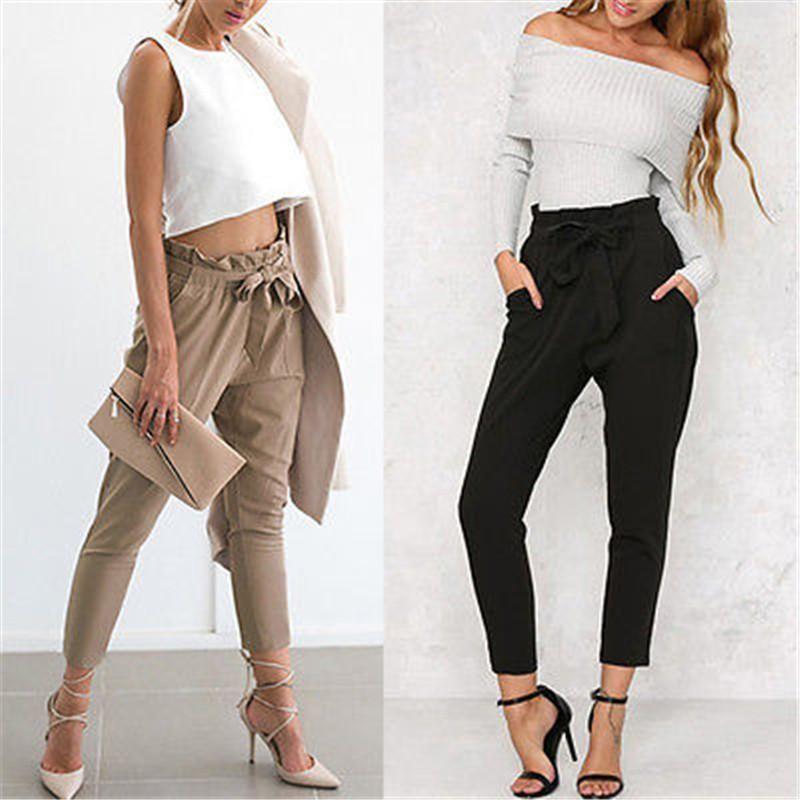 Acquista 2018 New Solid Harem Pantaloni Vita Alta Dolce Donne Bow Tie  Coulisse Elastico In Vita Lady Fashion Stringyselvedge Pantaloni Casual A   13.01 Dal ... d0be33cc7e6c