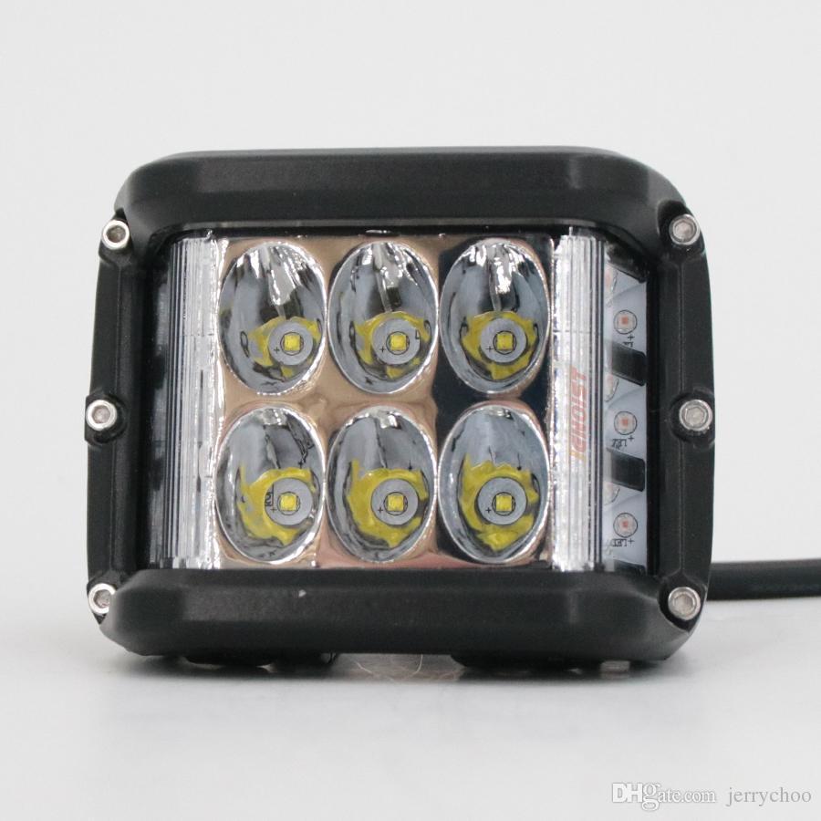 The Newest Three In One 4 Inch LED White Blue Warning Flash Work Light For Wrangler Offroad Motorcycle SUV 4*4 ATV UTV BUS 12V 24V