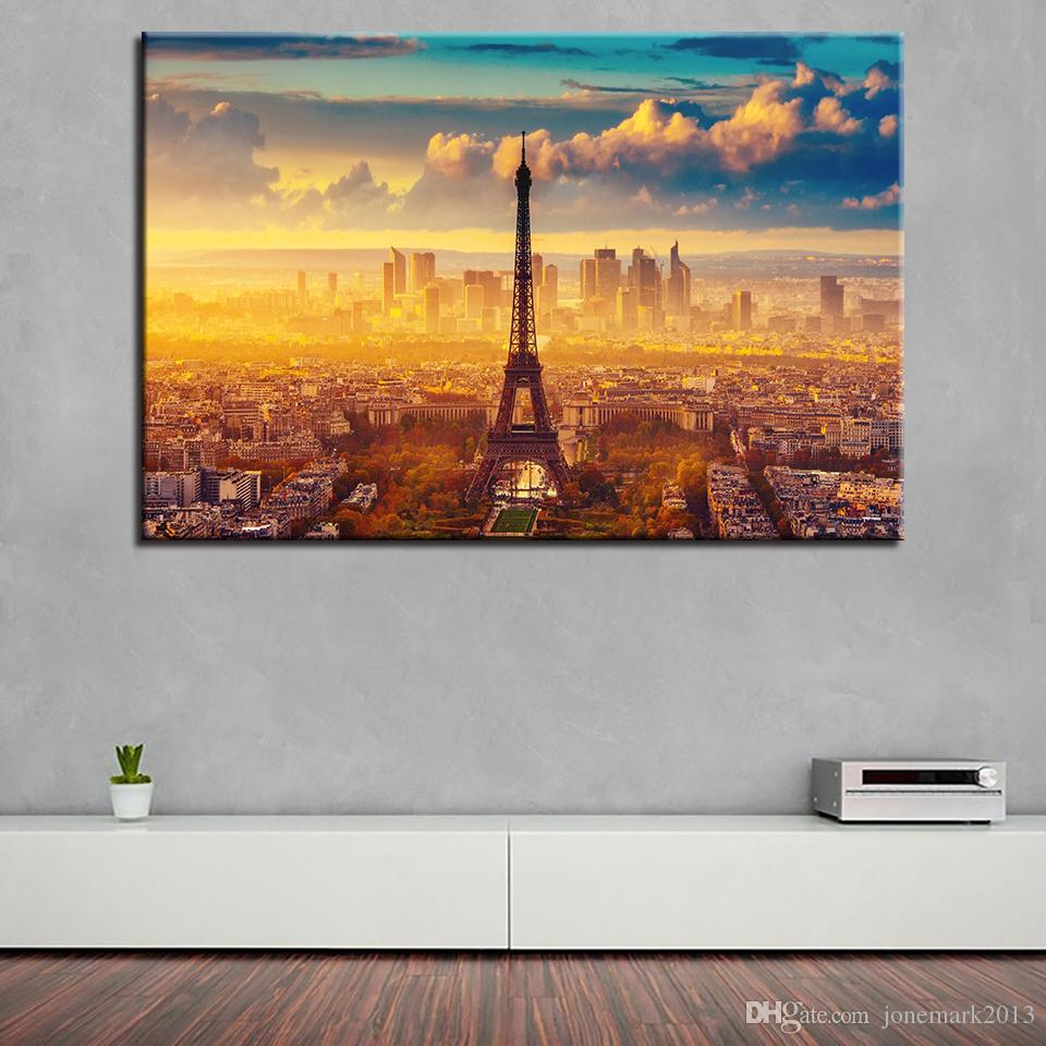 Canvas HD Prints Pictures Wall Art Living Room Home Decor Poster /Pcs Paris City Sunshine Tower View Paintings Framework