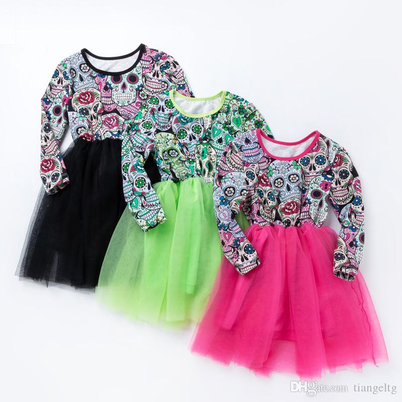 a09108027 Baby Girls Halloween Dresses Human Skulls Death s Heads Printed ...