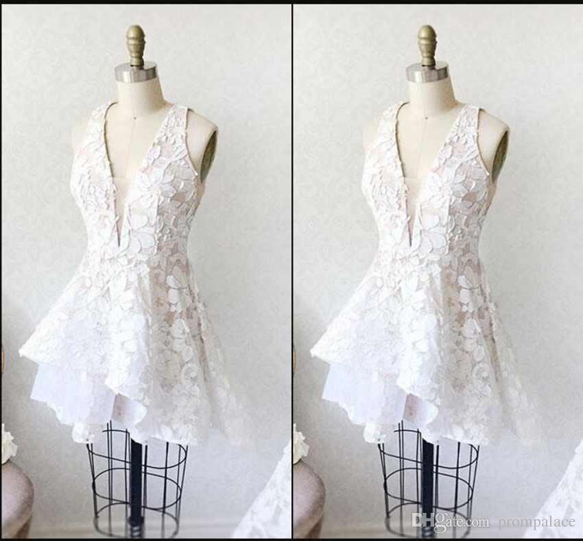 3e03e0356 Junior 8th Grade Homecoming Dresses White Sleeveless Short Prom Dresses  Cheap A-Line Mini Lace Appliques Homecoming Gowns Homecoming Dresses Short  ...