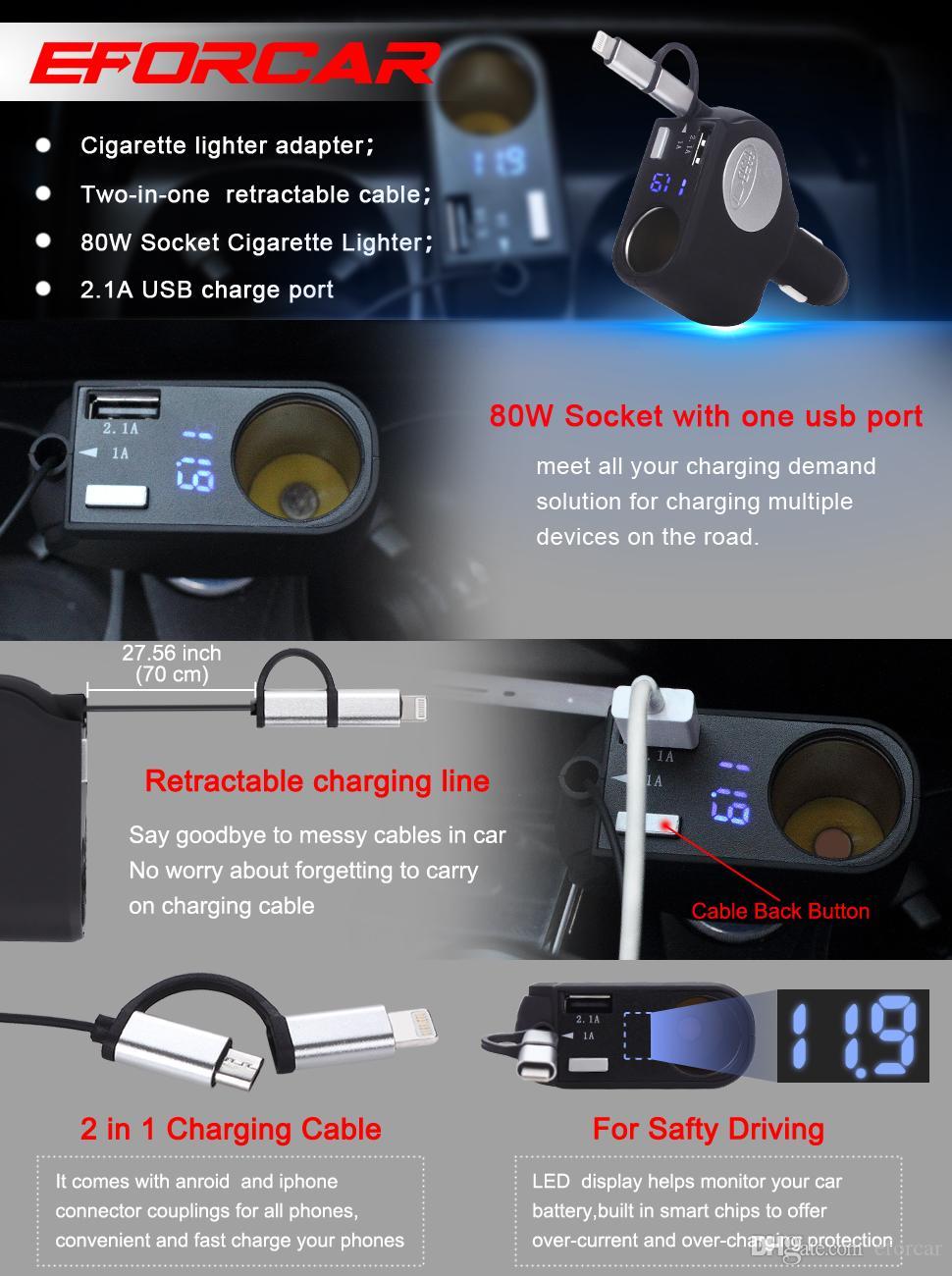 Cargador rápido retractable del coche de la nueva versión 2-In-1 Encendedor del cigarrillo del zócalo Adaptador elegante del poder del puerto USB 3.1-Amp para IPhone IPad GPS