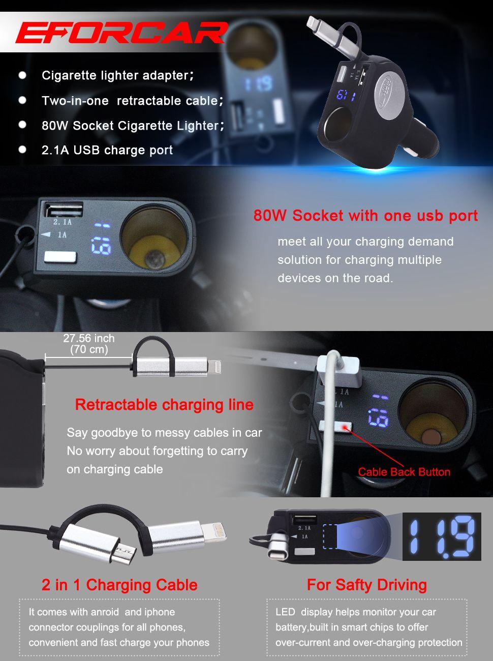 Nova versão 2-em-1 retrátil carregador de carro rápido 1 soquete de isqueiro 3.1-amp porta usb adaptador de energia inteligente para iphone ipad gps