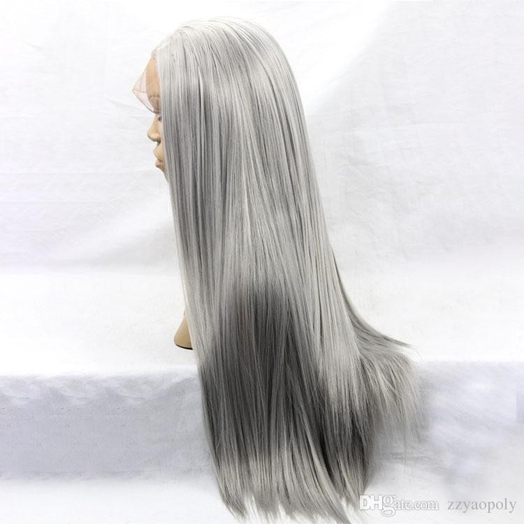 Main liée naturelle Long soyeux droite argent gris couleur haute densité résistante à la chaleur synthétique Lace Front perruques