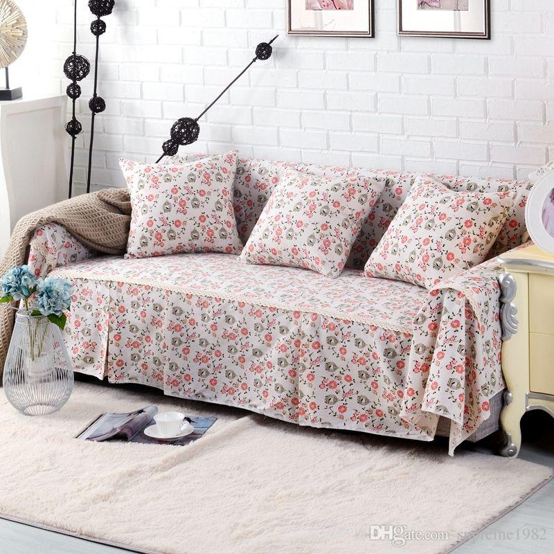 Floral Cotton Linen Slipcover Sofa Cover OUKl Protector for 1 2 3 4 seater  hnhm