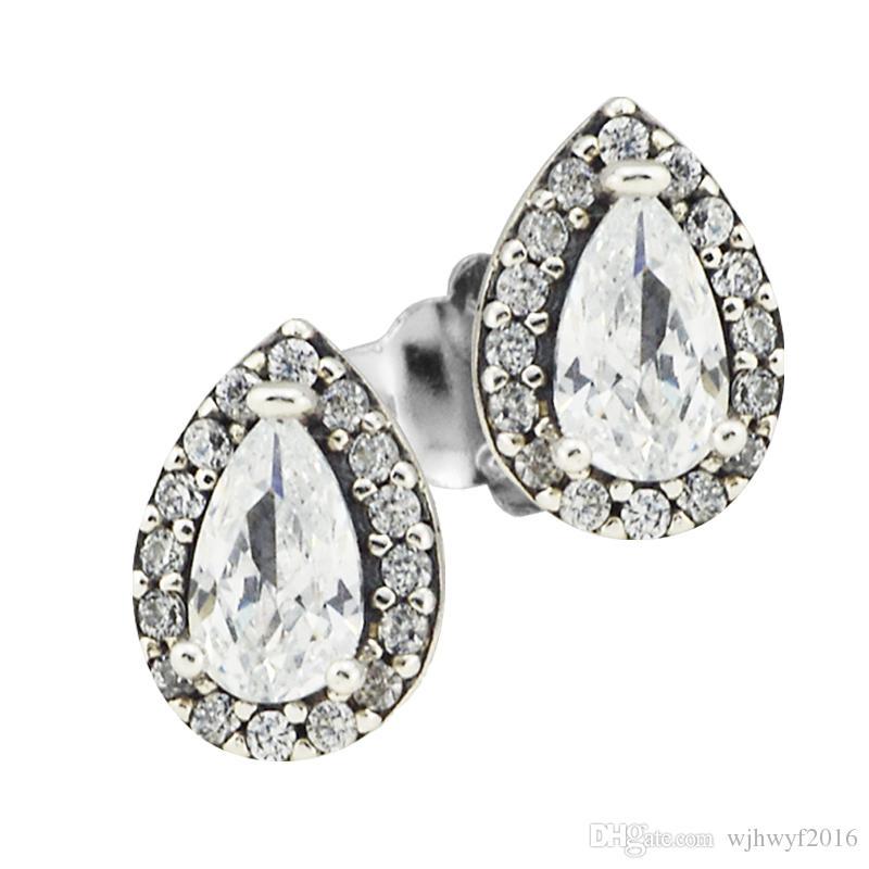 5430c2cdf 2018 New 925 Sterling Silver Earring Love Hearts Radiant Teardrops ...