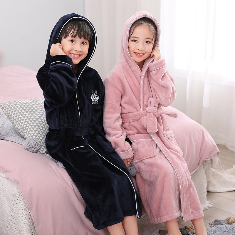 New Arrival Winter Bathrobe For Children Flannel Warm Lengthen Robe Thicken Hooded  Dressing Gown Girl Boys Coral Velvet Pajamas Y18103008 Little Girls Pjs ... ec7a96254